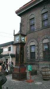 The old clock in front of the music box museum