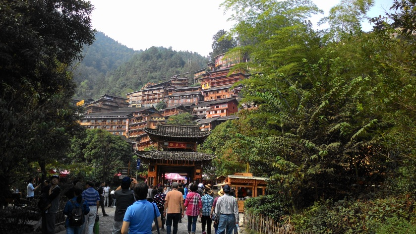 typical Miao's houses build along the hill sided to preserve the more level ground for agriculture.