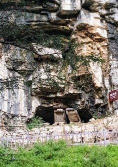 two coffin laid side by side on the cliff