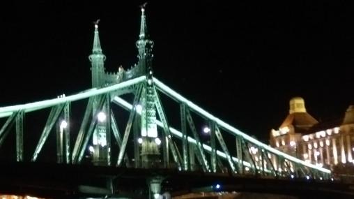 Liberty Bridge See in top decorated with bronze Turul birds, Hungarian methodological bird