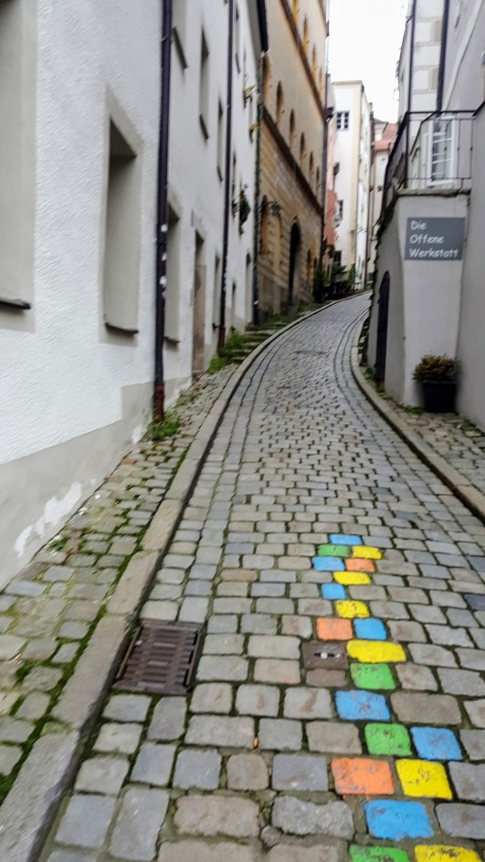 Passau Old Town covered in cobber stone and narrow streets