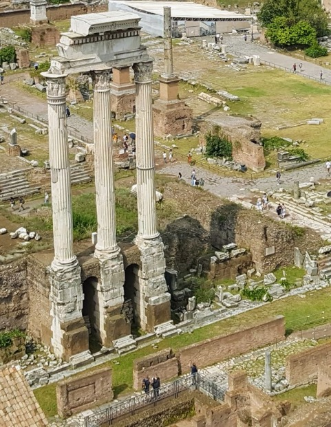 What's left of Temple of Castor and Pollux, built to give thanks in victory of battles. Castor and Pollux were of myths of Greek/Etruscan origin.